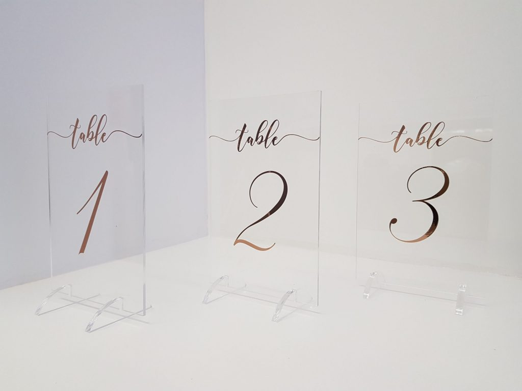 Table Number Rose Gold Clear  Perspex  on Stand 1-20